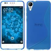 Silikon Hülle Desire 825 S-Style blau + 2 Schutzfolien