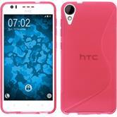Silikon Hülle Desire 825 S-Style pink + 2 Schutzfolien