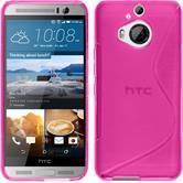 Silikon Hülle One M9 Plus S-Style pink + 2 Schutzfolien