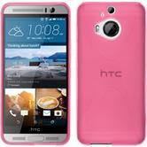 Silikon Hülle One M9 Plus X-Style pink + 2 Schutzfolien