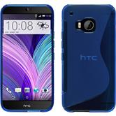 Silikon Hülle One M9 S-Style blau + 2 Schutzfolien