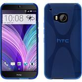 Silikon Hülle One M9 X-Style blau + 2 Schutzfolien