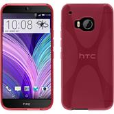 Silikon Hülle One M9 X-Style pink + 2 Schutzfolien