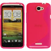 Silikon Hülle One X S-Style pink + 2 Schutzfolien