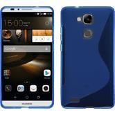 Silikon Hülle Ascend Mate 7 S-Style blau + 2 Schutzfolien