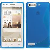 Silikon Hülle Ascend P7 Mini S-Style blau + 2 Schutzfolien