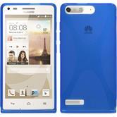 Silikon Hülle Ascend P7 Mini X-Style blau + 2 Schutzfolien