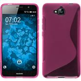 Silikon Hülle Enjoy 5 S-Style pink + 2 Schutzfolien
