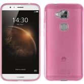 Silikon Hülle G8 transparent rosa + 2 Schutzfolien