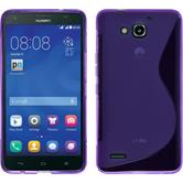 Silikon Hülle Honor 3X G750 S-Style lila + 2 Schutzfolien