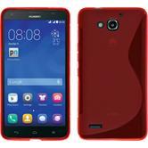 Silikon Hülle Honor 3X G750 S-Style rot + 2 Schutzfolien