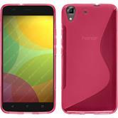 Silikon Hülle Honor 4A S-Style pink + 2 Schutzfolien