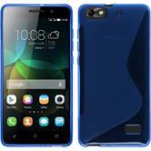 Silikon Hülle Honor 4c S-Style blau + 2 Schutzfolien