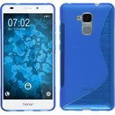 Silikon Hülle Honor 5C S-Style blau + 2 Schutzfolien