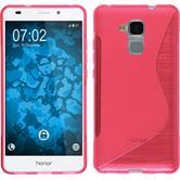 Silikon Hülle Honor 5C S-Style pink + 2 Schutzfolien