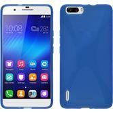Silikon Hülle Honor 6 Plus X-Style blau + 2 Schutzfolien