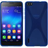 Silikon Hülle Honor 6 X-Style blau
