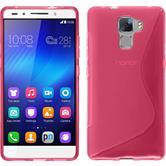 Silikon Hülle Honor 7 S-Style pink + 2 Schutzfolien