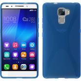Silikon Hülle Honor 7 X-Style blau + 2 Schutzfolien