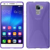 Silikon Hülle Honor 7 X-Style lila + 2 Schutzfolien
