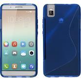 Silikon Hülle Honor 7i S-Style blau + 2 Schutzfolien
