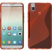 Silikon Hülle Honor 7i S-Style rot + 2 Schutzfolien