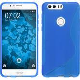 Silikon Hülle Honor 8 S-Style blau + 2 Schutzfolien