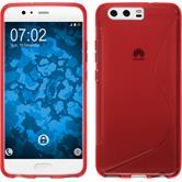 Silikon Hülle P10 S-Style rot + 2 Schutzfolien