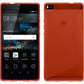 Silikon Hülle P8 S-Style rot + 2 Schutzfolien