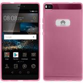 Silikon Hülle P8 transparent rosa + 2 Schutzfolien