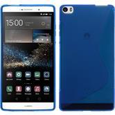 Silikon Hülle P8max S-Style blau + 2 Schutzfolien