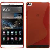 Silikon Hülle P8max S-Style rot + 2 Schutzfolien