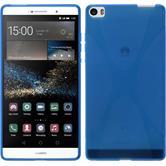 Silikon Hülle P8max X-Style blau + 2 Schutzfolien