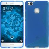 Silikon Hülle P9 Lite S-Style blau + 2 Schutzfolien