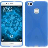 Silikon Hülle P9 Lite X-Style blau + 2 Schutzfolien