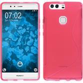 Silikon Hülle P9 Plus S-Style pink + 2 Schutzfolien