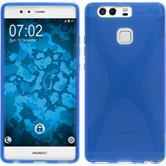 Silikon Hülle P9 X-Style blau + 2 Schutzfolien