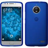 Silikon Hülle Moto E4 (EU Version) matt blau + 2 Schutzfolien