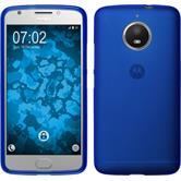 Silikon Hülle Moto E4 Plus (EU Version) matt blau + 2 Schutzfolien