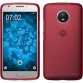 Silikon Hülle Moto E4 Plus (EU Version) matt rot + 2 Schutzfolien