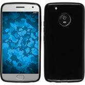 Silikon Hülle Moto G5 transparent schwarz + 2 Schutzfolien