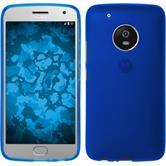 Silikon Hülle Moto G5 Plus matt blau + 2 Schutzfolien