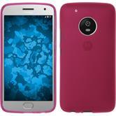 Silikon Hülle Moto G5 Plus matt pink + 2 Schutzfolien