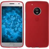 Silikon Hülle Moto G5 Plus matt rot + 2 Schutzfolien
