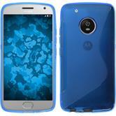 Silikon Hülle Moto G5 Plus S-Style blau + 2 Schutzfolien