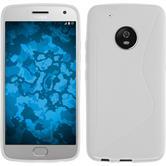Silikon Hülle Moto G5 Plus S-Style weiß + 2 Schutzfolien
