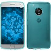 Silicone Case Moto G5 Plus transparent turquoise + protective foils