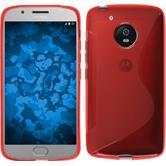 Silikon Hülle Moto G5 S Style rot + 2 Schutzfolien