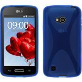 Silikon Hülle L50 X-Style blau + 2 Schutzfolien