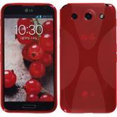 Silikon Hülle Optimus G Pro X-Style rot + 2 Schutzfolien